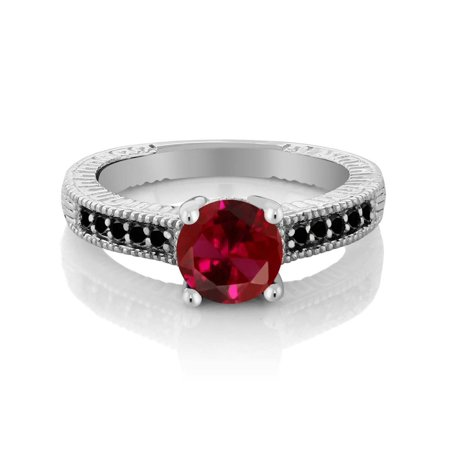 1.72 Ct Round Red Created Ruby Black Diamond 925 Sterling Silver Engagement Ring ()