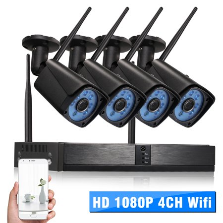 H.265 Standard Wifi NVR With Camera Kit 4CH Channel HD 1080P Wifi NVR Network Video Recorder + 4pcs 1080P Wireless Wifi Weatherproof Outdoor Bullet IP Camera support Plug ()