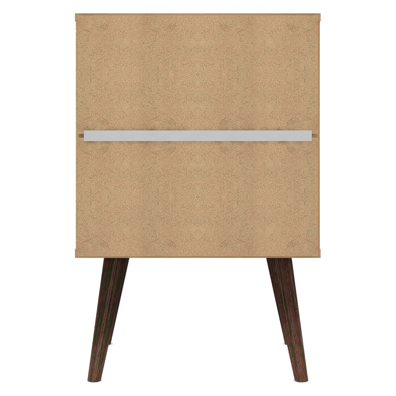 Manhattan Comfort Liberty Mid Century Modern Nightstand 1 0 With Cubby E And Drawer In White Rustic Brown Solid Wood Legs