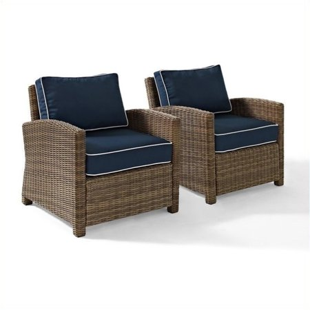 3 Piece Patio Set with Loveseat, Glass Top Coffee Table, and Chair in Navy - image 2 de 3