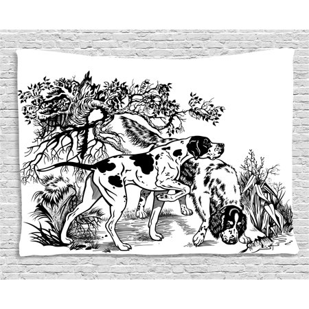 Hunting Decor Tapestry, Hunting Dogs in Forest Monochrome Drawing English Pointer and Setter Breeds, Wall Hanging for Bedroom Living Room Dorm Decor, 60W X 40L Inches, Black White, by - English Setter Hunting Dogs