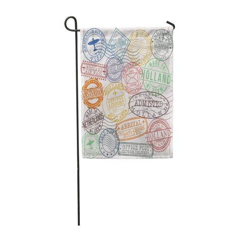LADDKE Post Amsterdam Holland Netherlands Stamp Symbol Aged Airport Antique Arrival Garden Flag Decorative Flag House Banner 12x18 - Amsterdam Airport