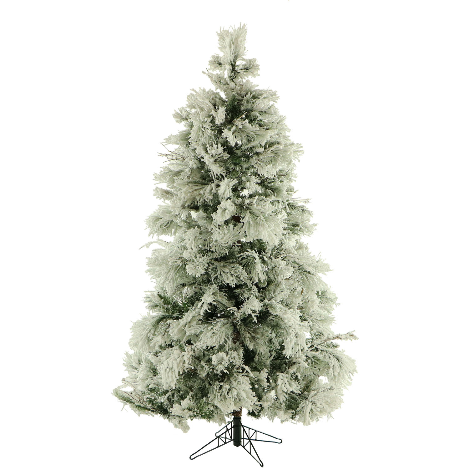 Fraser Hill Farm 7.5-Ft. Flocked Snowy Pine Artificial Christmas Tree