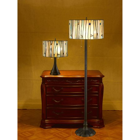 Serena d'italia Blue Jeweled Table and Floor Lamp Set