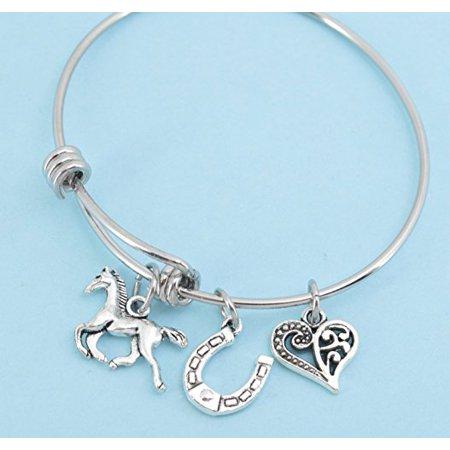 - Little Girls Horse Bangle Bracelet in stainless steel. Little girls jewelry. Little girls bracelet. Horse gifts. Horseshoe.