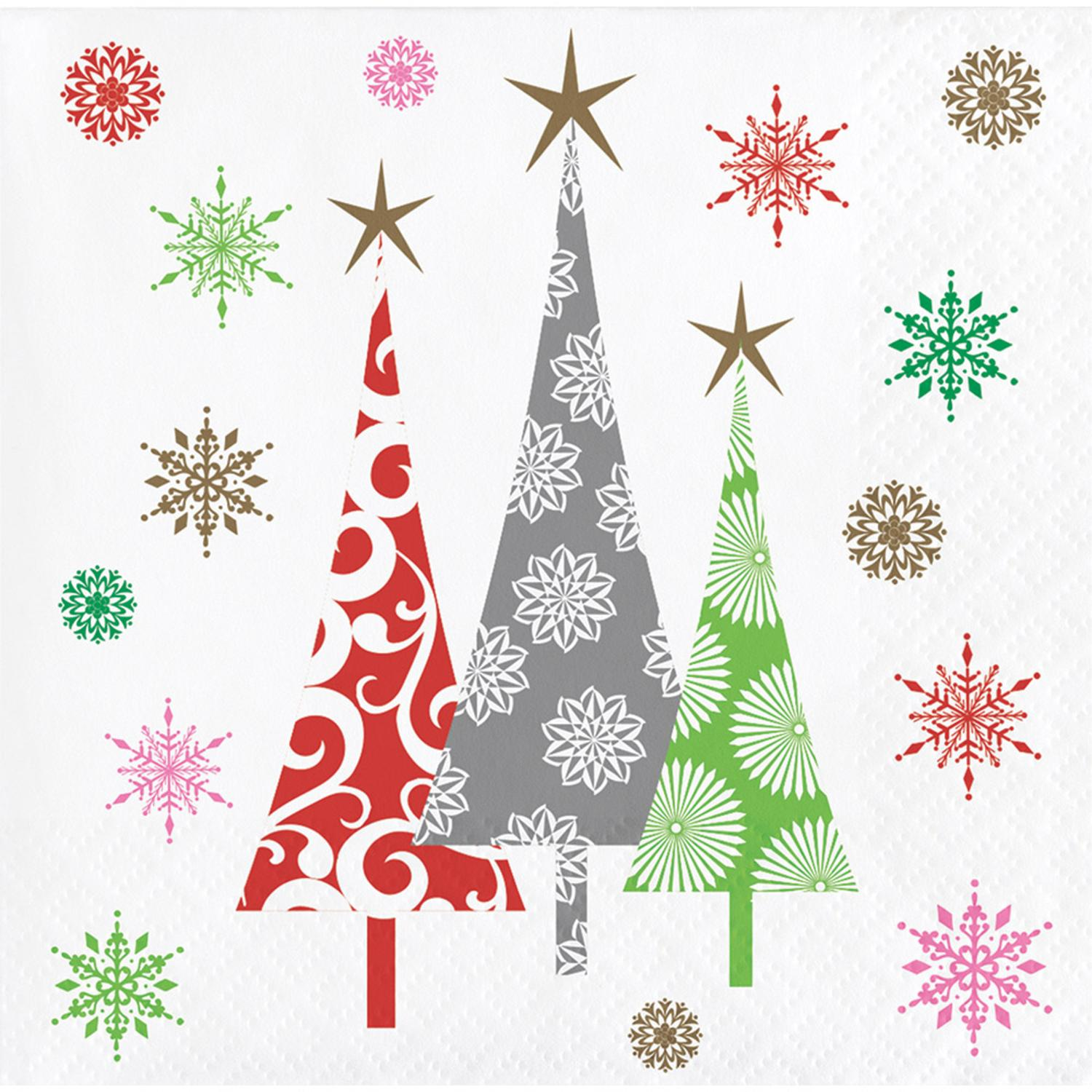 Club Pack of 288 Subtle Colors Christmas Trees Beverage Napkins 5""