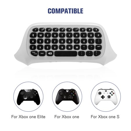 Gaming Keyboard for Xbox One S Elite Controller Wireless Keyboard Message Keypad Chatpad with 2.4G Receiver White