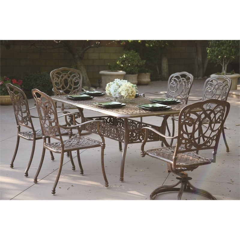 Darlee Florence 7 Piece Patio Dining Set with Seat Cushion