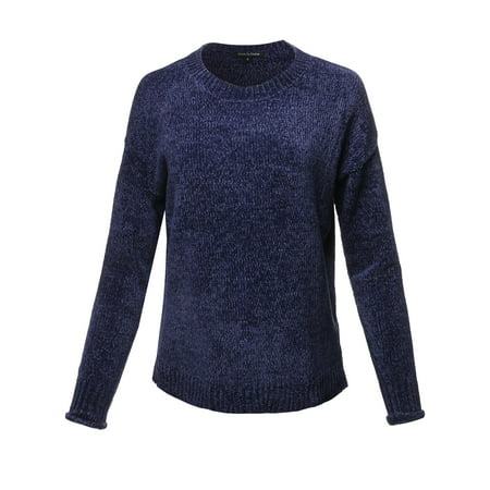 FashionOutfit Women's Casual Chenille Sweaters Crew Neck Side Slit Pullover Sweater Tops
