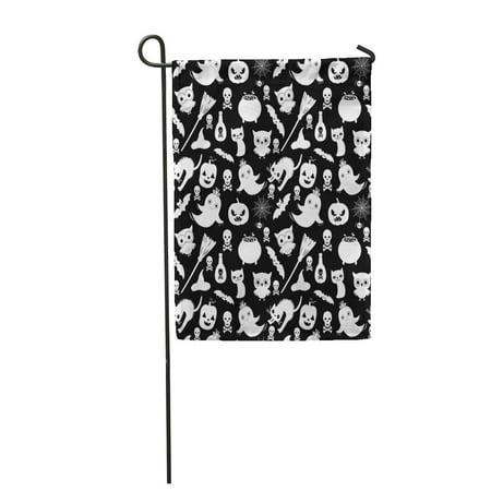 LADDKE Cute Black and White Halloween Pattern in Flat Cartoon Garden Flag Decorative Flag House Banner 28x40 inch
