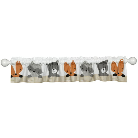 Bedtime Originals Acorn Window Valance - Gray, Animals, Woodland, - Woodland Animal