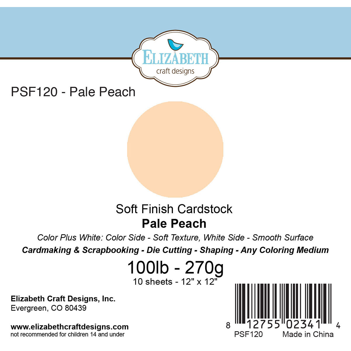 "Soft Finish Cardstock 12""X12"" 10/Pkg-Pale Peach"