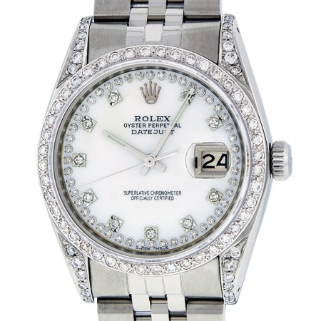 Pre-Owned Rolex Mens Datejust Steel and 18K White Gold Mother of Pearl Diamond Watch Jubilee Quickset