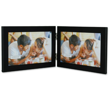 Double Photo Frame (Black 6x4 Hinged Double Metal Picture)