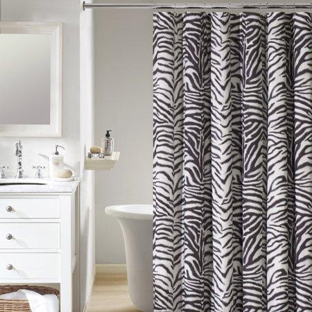 mainstays zebra fabric shower curtain