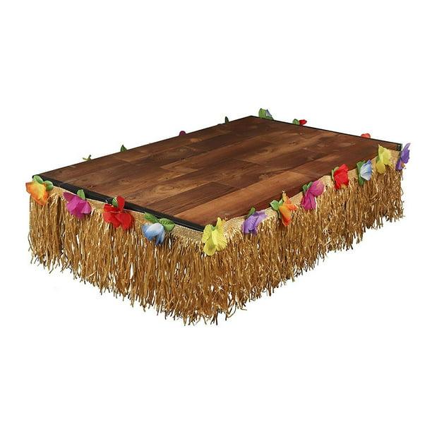 Luau Table Skirt Hawaiian Hibiscus Grass Table Skirt