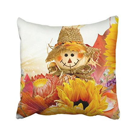 WinHome Decorative Fall Basics Sunflowers straw hats maple leaves scarecrow Throw Pillow Cover Case Size 18x18 inches Two Side