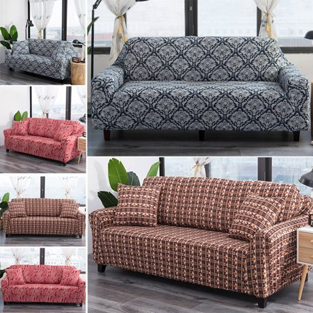 CUH 1/2/3/4 Seater Elastic Stretch Cotton Soft Sofa Cover Floral Couch Protector Anti-Skid Slipcover Sofa Furniture Protector Fit Cotton Floral Slipcover