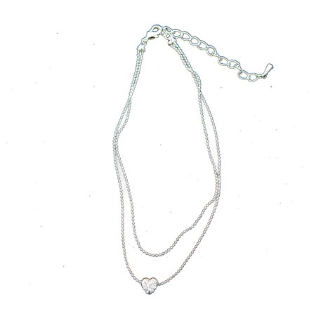 Silver 2 Row Strand with Silver and Crystal Rhinestone Heart Shape Anklet