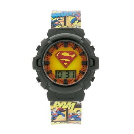 Superman Kids' Digital Watch with Raised Superman Shield Icon ()