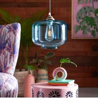 Teal Glass Cocoon Style Pendant Light by Drew Barrymore Flower Home, UL Listed, LED Bulb Included