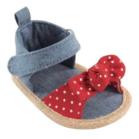 Rubber Sole Bow - Newborn Baby Girls' Bow Sandal with Badge Sole