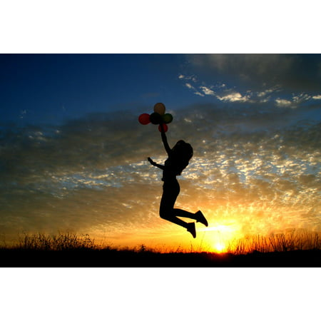 LAMINATED POSTER Sun Girl Sunset Bounce Sky Clouds Balloons Flight Poster 24x16 Adhesive Decal
