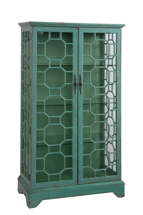 "67503 38 Curio Cabinet with 2 Glass Doors Geometric Design and 3 Glass Shelves in Bayberry Blue"" by"