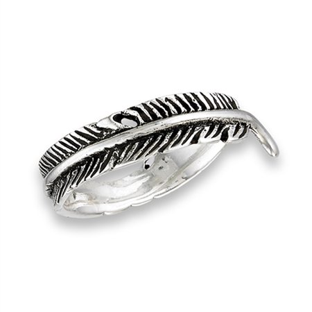 Oxidized Feather Wrapped Thumb Ring New 925 Sterling Silver Leaf Band Size 7 ()