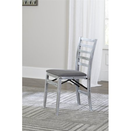 American Woods Chair (COSCO Contoured Back Wood Folding Chair with Fabric Seat, White and Gray, 2-Pack )