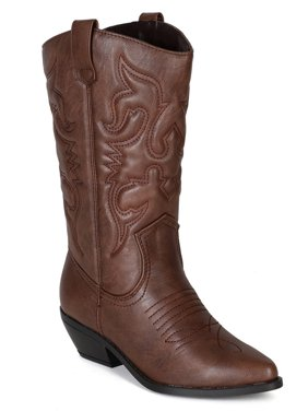 Reno Tan Brwon Soda Cowboy Western Stitched Boots Women Cowgirl Boots Pointy Toe Knee High