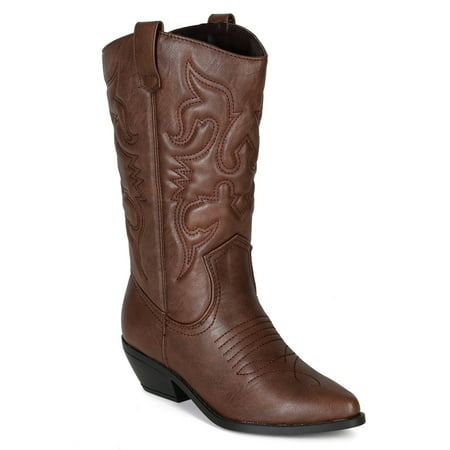 Reno Tan Brwon Soda Cowboy Western Stitched Boots Women Cowgirl Boots Pointy Toe Knee High](Light Up Cowgirl Boots)