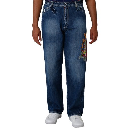 Blanco Label Men's Relaxed Fit 5 Pocket jeans Dark Blue Washed & Embroidery