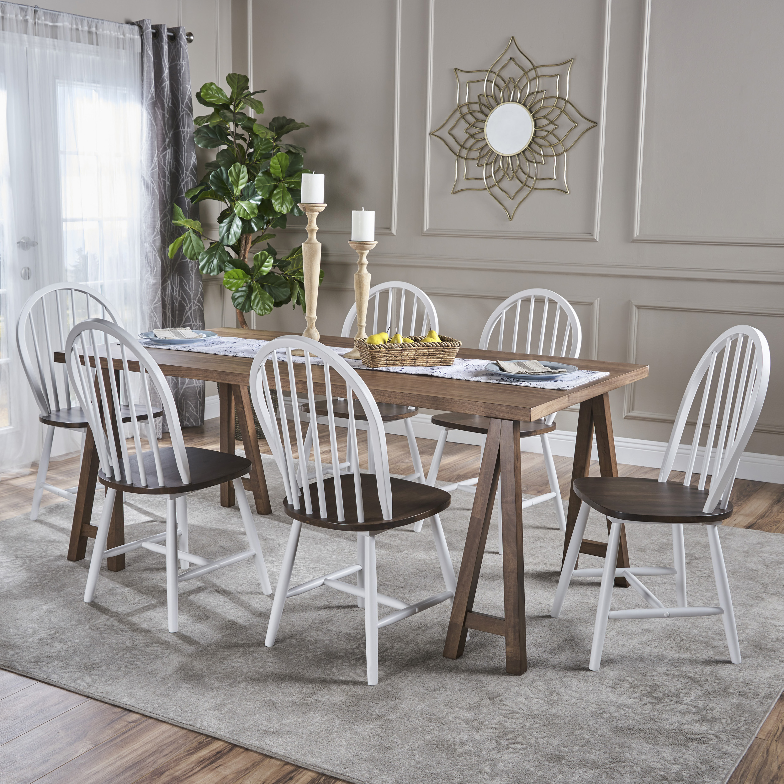 Angela farmhouse cottage 7 piece faux wood dining set with rubberwood chairs natural walnut and white walmart com