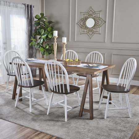 Angela Farmhouse Cottage 7 Piece Faux Wood Dining Set with Rubberwood Chairs, Natural Walnut and White ()