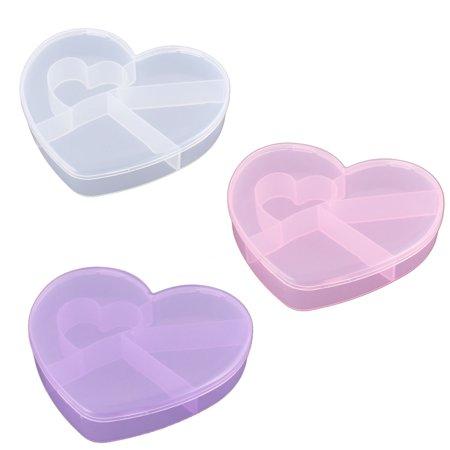 Unique Bargains  Plastic Heart Shaped 5 Slots Storage Box Case Organizer Container 3pcs - Heart Shape Box