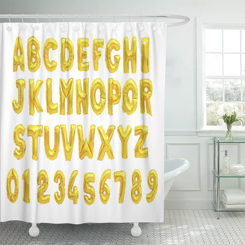 PKNMT English Alphabet and Numerals from Yellow Golden Balloons Polyester Shower Curtain 60x72 inches