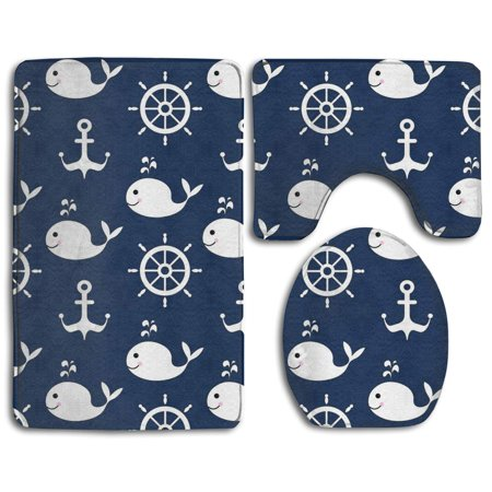CHAPLLE Nautical Whale Fish Wheel Anchor 3 Piece Bathroom Rugs Set Bath Rug Contour Mat and Toilet Lid Cover ()