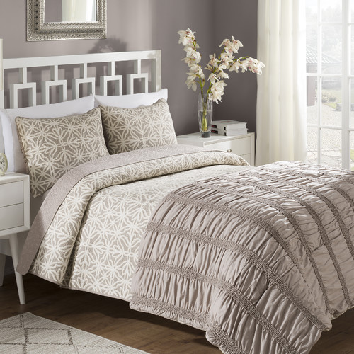 American Home Fashion Crest Home Bettina Reversible Comforter and Quilt Set
