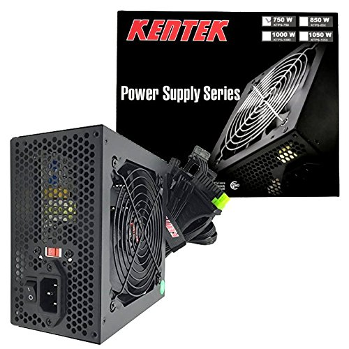 KENTEK 750 Watt 750W 120mm Fan ATX Power Supply 12V 2.3 EPS12V 2.92 PCI-Express SATA 20/24 PIN Intel AMD by KENTEK