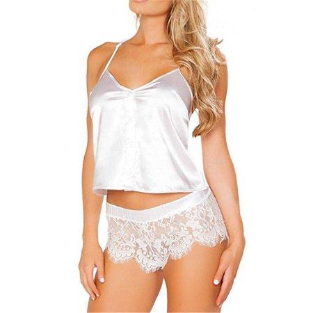 2PCS Women Sexy Satin Lace Sleepwear Babydoll Lingerie Nightdress Pajamas Set White S