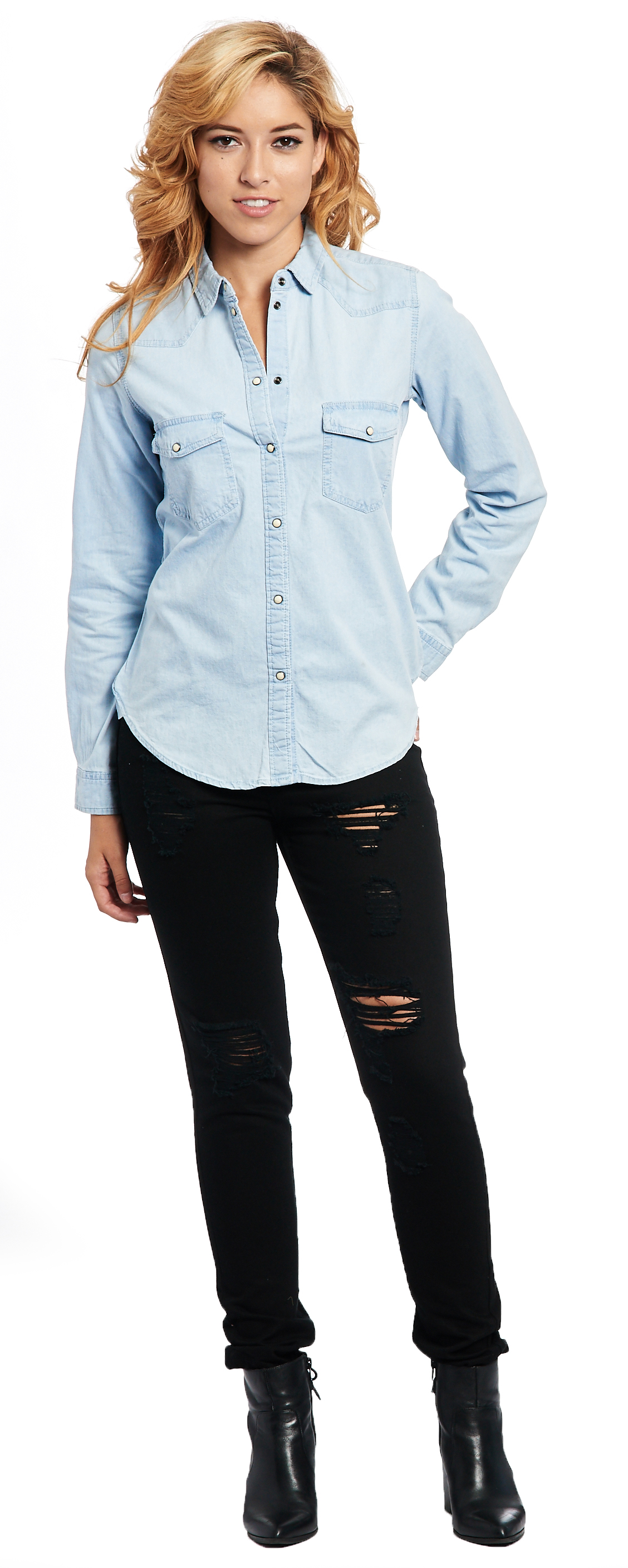 5369253f39169c Glamsia - Women's Light Indigo Long Sleeve Denim Western Style Button Up  Shirt - Walmart.com