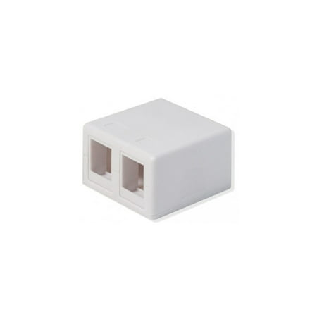 Keystone Jack Surface Mount Box - Logico SMB202 2-Port White Keystone Jack CAT5e/CAT6 Surface Mount Box