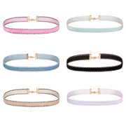 BodyJ4You 6PC Choker Necklace Set Black White Pink Beige Collar Velvet Adjustable Women Teen Girl