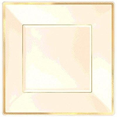 "Amscan Elegant with Trim Square Plastic Party Plate 8 Piece, 10"", Cream/Gold"