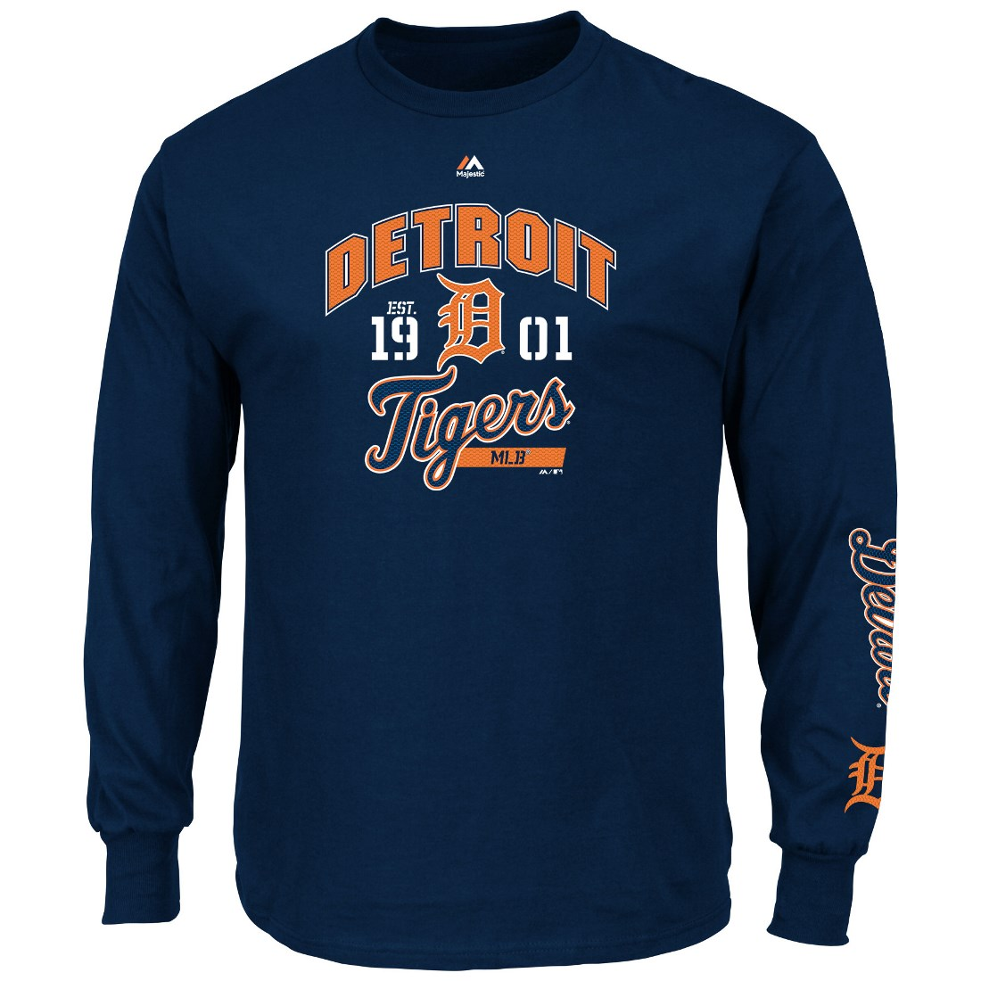 "Detroit Tigers Majestic MLB ""Flawless"" Men's Long Sleeve T-Shirt - Navy"