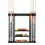 Cue Rack Only- 6 Pool Billiard Stick + Ball Set Wall Rack Holder Black Finish