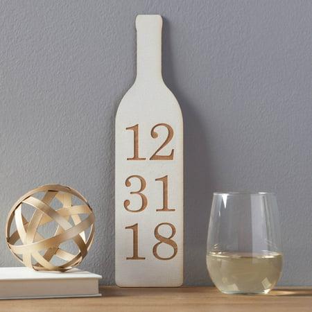 Wedding Date Wine Bottle- White Wood Wall