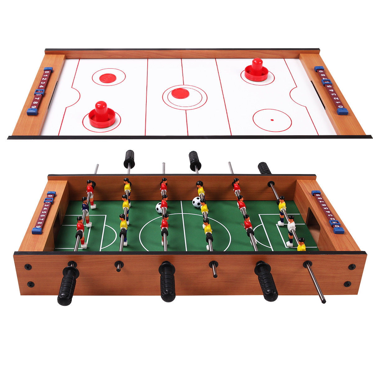 Gymax Kids Christmas Gift 2 In 1 Table Game Air Hockey Foosball Table by Gymax