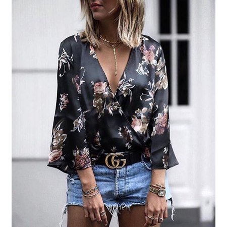 - 2019 Womens Sexy T-shirt Silk And Satin Tops Deep V-neck Small Floral 3D Printing Trumpet Long Sleeve Shiny T-shirts